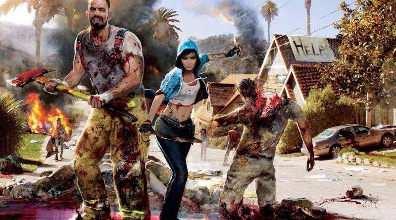 Герои игры dead island 2 на фоне горящего зомби