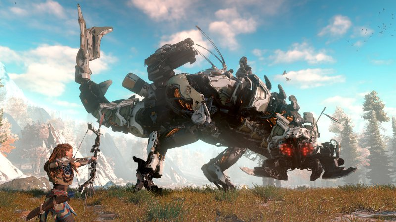 Кадр из игры Horizon: Zero Dawn - героиня стреляет из лука в огромного робота