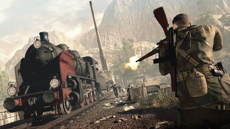 Скриншот из игры Sniper Elite 4. Снайпер стреляет из винтовки в машиниста поезда