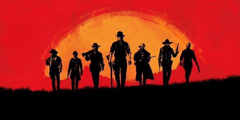 Постер игры red Dead Redemption - ковбои на фоне заката