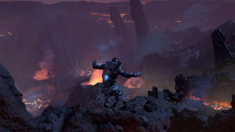 Главный игры Mass Effect: Andromeda герой прыгает в лаву