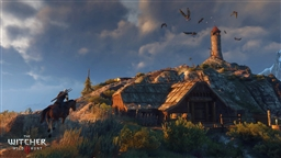 Изображен ведьмак Геральт, скражающийся с монстрами и игровой мир The Witcher 3: Wild Hunt - 6